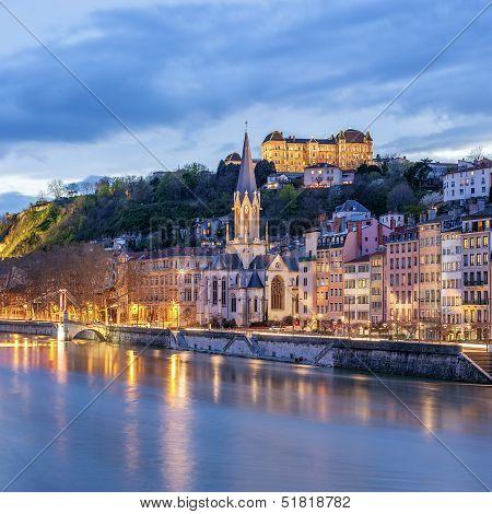 View Of River Saone At Night, Lyon