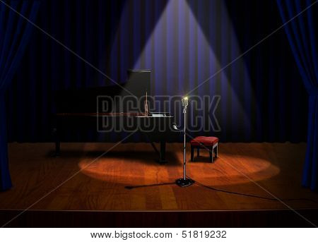 Piano And Microphone On Stage Under Spotlights