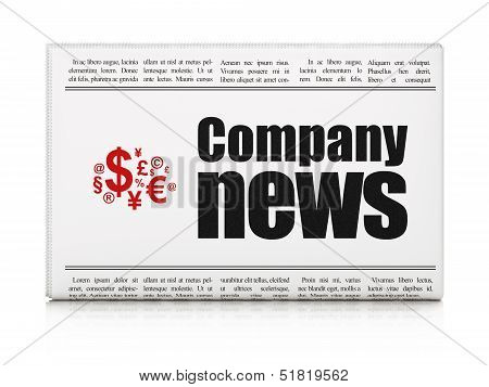 News news concept: newspaper with Company News and Finance Symbo