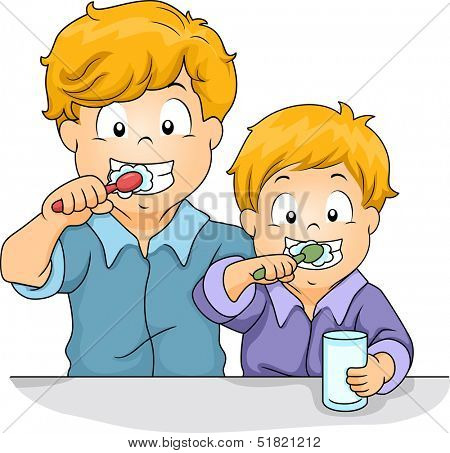 Illustration of Male Siblings Brushing Their Teeth Together