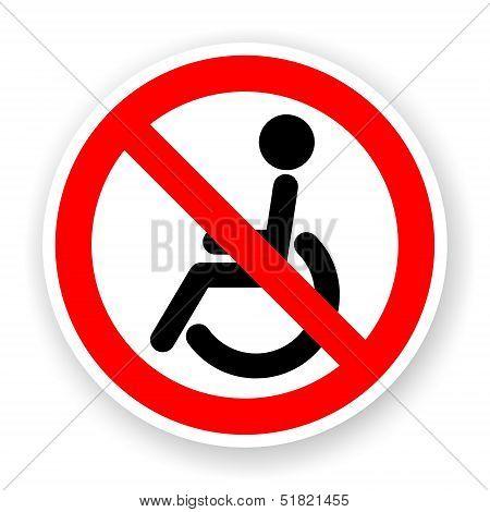 Sticker Of No Wheelchair Sign