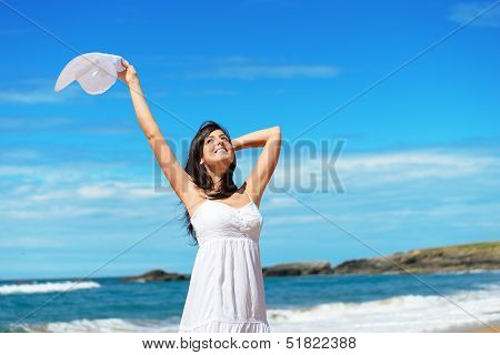 Happy Woman On Beach Travel And Vacation