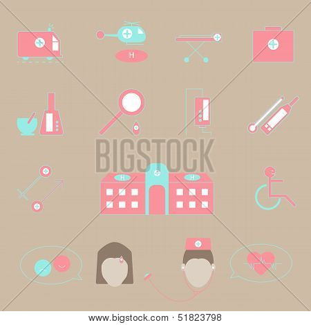 Hospital And Emergency Color Icons On Brown Background