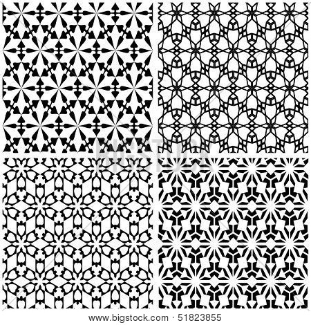 Vector illustration of seamless black-and-white geometric pattern.