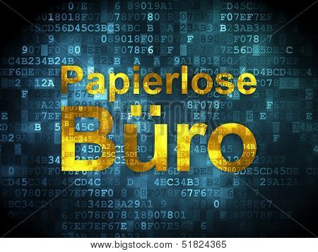 Business concept: Papierlose Buro(german) on digital background