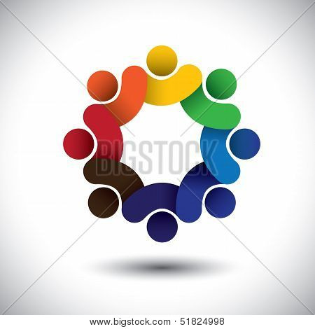 Abstract Circle Of People Icons - Diversity In Employment Concept