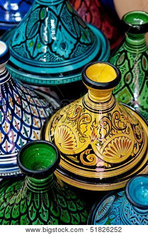 Colorful Moroccan Pots (tagines), For Traditional Cooking.