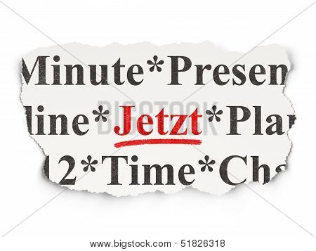 Timeline concept: Jetzt(german) on Paper background