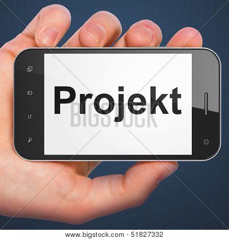 Finance concept: Projekt(german) on smartphone