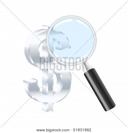 Dollar Sign And Magnifying Glass. Vector Illustration