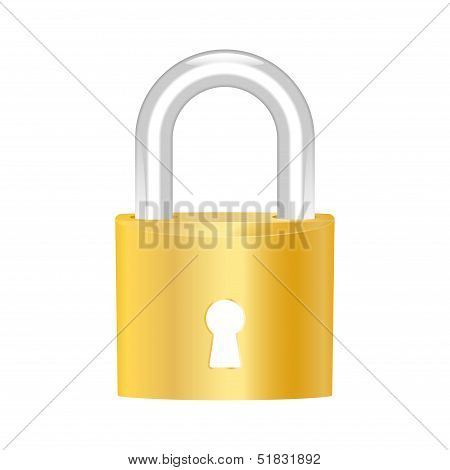 Brass Padlock Icon. Vector Illustration