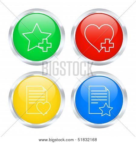 Set Of Favorites Buttons. Vector Illustration
