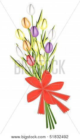 Tulip Bouquet with Red Ribbon