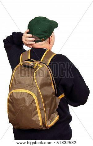 Tourist With A Backpack.