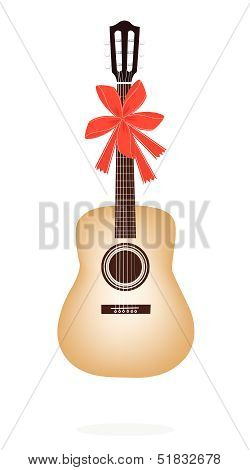 Classical Guitar with Red Ribbon