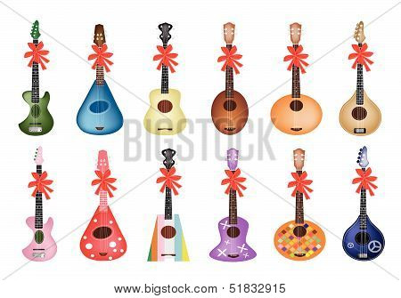 Ukulele Guitars with Red Ribbon
