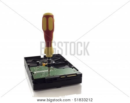 Computer Hard Disk And Screwdriver