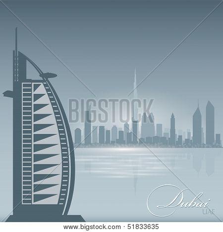 Dubai Uae Skyline City Silhouette Background