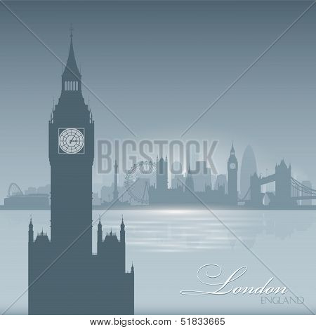 London England Skyline City Silhouette Background