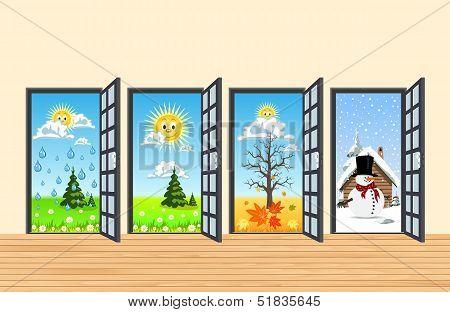Spring Summer Autumn Winter Four Doors In Corridor