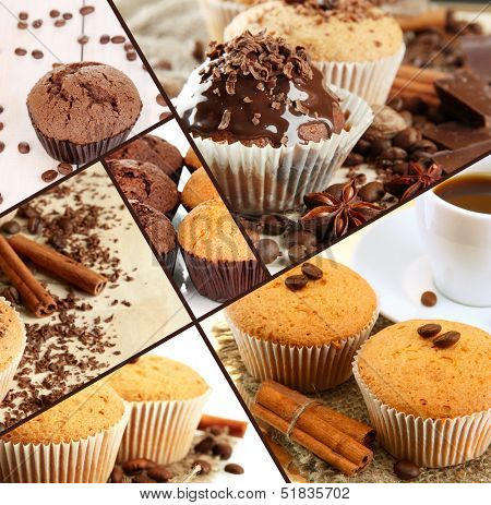 Collage of chocolate cupcakes