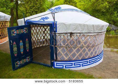 White And Blue Yurt