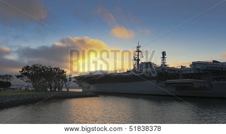 A USS Midway And Mole Park Sunset Shot