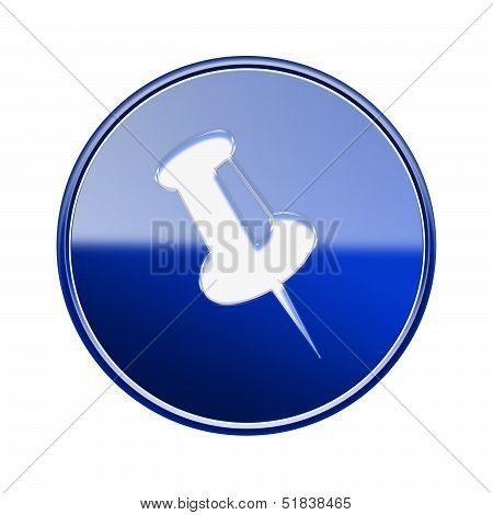 Thumbtack Icon Glossy Blue, Isolated On White Background.