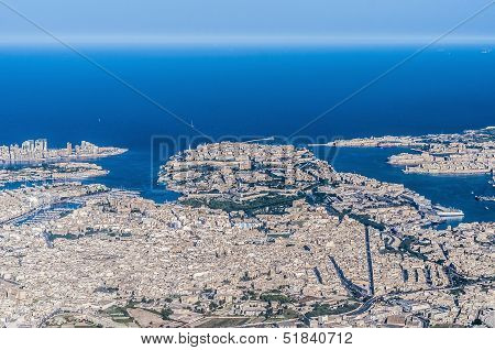 Valletta In Malta As Seen From The Air.