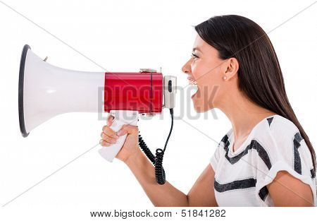 Angry woman yelling through a loudspeaker - isolated over white background