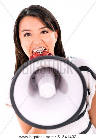 Bossy woman yelling through a loudspeaker - isolated over white background