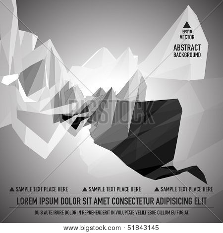 Grayscale triangular abstract background