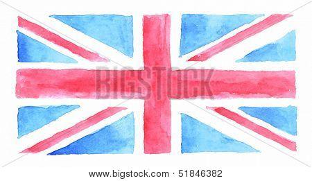 Watercolor UK flag, watercolor British flag