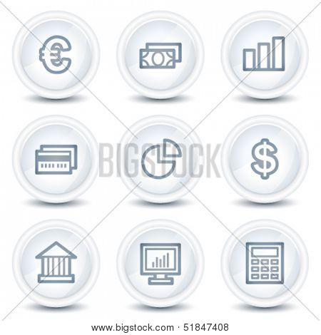 Finance web icons set 1, white glossy circle buttons