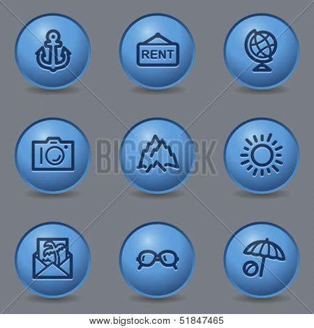 Travel web icons set 5, circle blue buttons