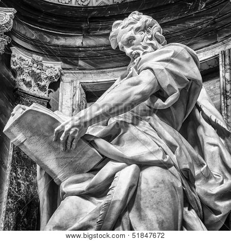 Statue of St. Matthew at the Basilica of St. John Lateran in Rome. Please look at my images of the other saints from this church.