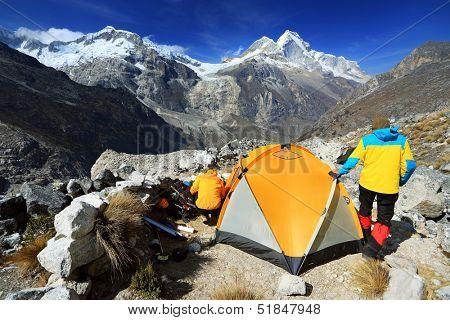 Camping in Artesonraju Morraine Camp, Cordiliera Blanca, Peru, South America