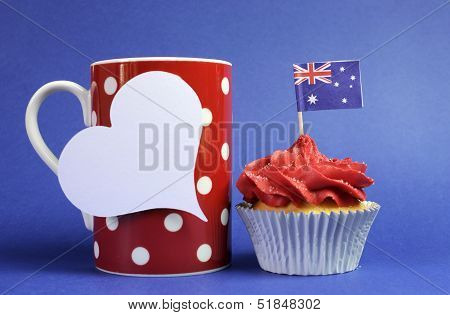 Australian Theme Red, White And Blue Cupcake With National Flag And Red Polka Dot Coffee Mug And Whi