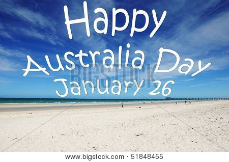 """happy Australia Day January 26"" Message Written Across Blue Sky Over White Sandy Australian Beach."