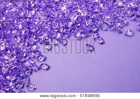 Sparkling Purple Lilac Background Of Acrylic Ice Wedding Scatters Close Up - With Copy Space For You