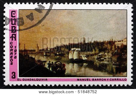 Postage Stamp Cuba 1976 Guadalquivir River, By Manuel Barron Y C