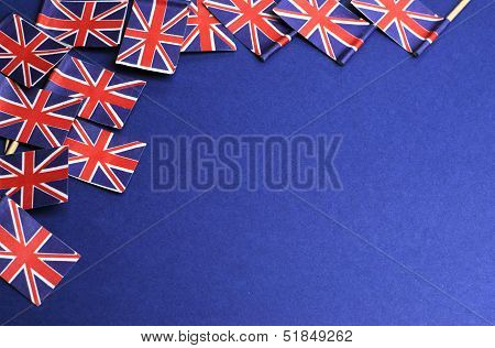 Abstract Background Of Uk Unioun Jack Great Britian, Red White And Blue,  National Toothpick Flags F
