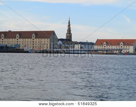 Copenhagen, Denmark : Canals, Tower Of Vor Frelsers Kirke On August 6, 2013
