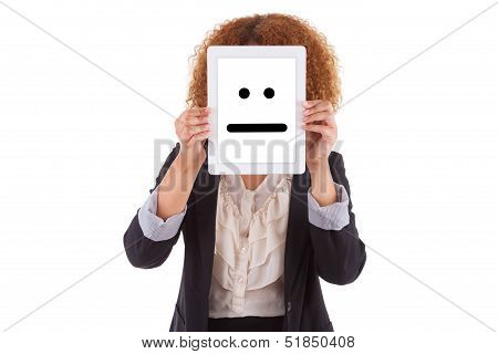 African American Business Woman Holding A Tactile Tablet Displaying An Indifferent Emoticon - Black