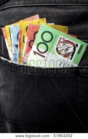 Australian Money Including 100, 50, 5, 10 And 20 Dollar Notes, In Back Pocket Of A Man's Black Charc