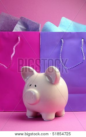 Retail Therapy, I Love Shopping, Concept With Colorful Shopping Bags Against A Pink Background, With