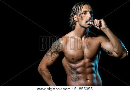 Bodybuilder Eating Chocolate