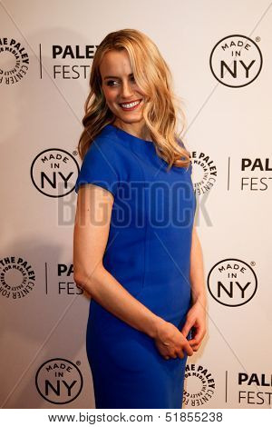 NEW YORK-OCT 2: Actress Taylor Schilling shoes at the 'Orange Is the New Black' panel during 2013 PaleyFest: Made In New York at The Paley Center for Media on October 2, 2013 in New York City.