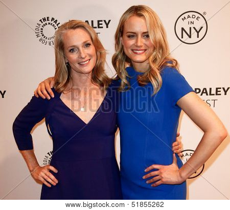NEW YORK-OCT 2: Actress Taylor Schilling (R) & writer Piper Kerman attend 'Orange Is the New Black' at 2013 PaleyFest: Made In New York at Paley Center for Media on October 2, 2013 in New York City.
