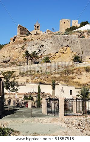 Castle on hill, Antequera, Spain.